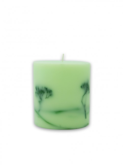 Decorated green candle